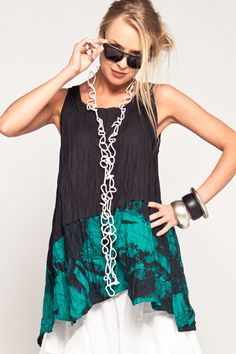 Action Top in Emerald Print Carnaby Two-part tank style top with asymmetric, overlapping panels. Shown crushed for a textured look. Accessories not included.  EPTT001 Fabric: Carnaby (Lightweight Cotton) Colour: Emerald Print Style: Top - Sleeveless Designer: Kaliyana