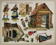 Scholz` Künstler=Aufstellbogen, Märchen. Hänsel und Gretel. Aufstellbilder auf dickem  Papier (33x43 cm) No. 51 K.