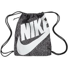 NIKE BLACK GYM SACK BACK PACK BACKPACK BOOK BAG GYM TRAVEL SPORTS ...