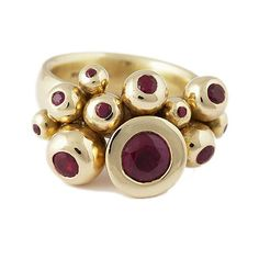 Ball ring with rubies