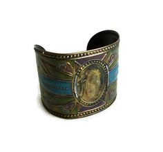 Reserved for H. Vintage CUFF BRACELET, green & blue. Rustic tribal jewelry. Wearable metal arts. Bold statement, unique jewellery