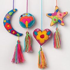 Mexican Felt Star and Moons Tassels / Bag Accessories  / Girl Decor / Mexican Handcrafts
