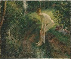Camille Pissarro (French, 1830–1903). Bather in the Woods, 1895. The Metropolitan Museum of Art, New York. H. O. Havemeyer Collection, Bequest of Mrs. H. O. Havemeyer, 1929 (29.100.126) |  Pissarro's approach reflects the continuing influence of divisionist technique, but more naturalistic tendencies emerge in his attempts to capture the delicate fall of light over the grassy bank and the woman's back.