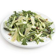 Raw strips of asparagus are crisp, juicy, and great in salads. Allow the asparagus to marinate for no more than 15 minutes; any longer and it will begin to lose its crunchy texture.
