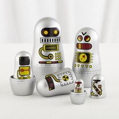The Land of Nod | Robot Nesting Dolls in Tabletop Storage