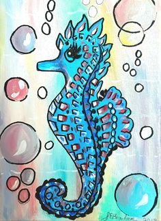 Surreal Whimsical Seahorse Acrylic Painting On Canvas Folksy UK For Children Seahorse Painting, Acrylic Painting Canvas, All Family, Nursery Wall Decor, Pebble Art, Handmade Crafts, Surrealism, Playroom, Whimsical
