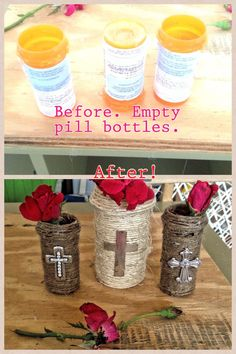 Empty pill bottles. Don't even need to take off labels. Use hot glue and twine. I glued old broken earrings to mine. Sooo simple to do!! Took minutes. And I'm not the crafty type.