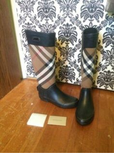 Available @ TrendTrunk.com Burberry Boots. By Burberry. Only $308.00! Burberry Boots, Rubber Rain Boots, Money, Shoes, Fashion, Moda, Silver, Shoes Outlet, Fashion Styles