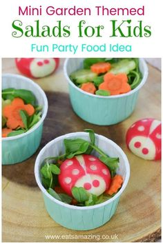 Cute garden themed mini side salads for kids - these fun little salads with cheese ladybugs are perfect for fairy or garden themed party food for kids Salads For Kids, Healthy Eating For Kids, Healthy Snacks, Toddler Meals, Kids Meals, Cute Food, Good Food, Food Themes, Food Ideas