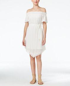 f34c0b2a3 BCX Juniors' Smocked Off-The-Shoulder Crochet Dress & Reviews - Dresses -  Juniors - Macy's