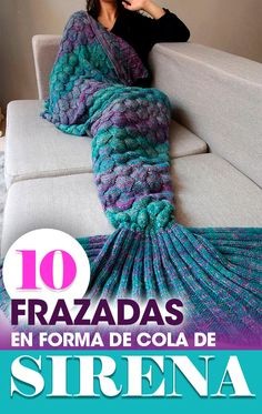 10 Blankets in the form of mermaid tail, mermaid. Diy Crochet And Knitting, Crochet Crafts, Crochet Projects, Diy Francais, Crochet Mermaid Blanket, Mermaid Diy, Knit Patterns, Homemade, Blankets
