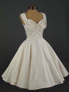 Retro Vintage Tea Length Ivory Satin Wedding Dress | DV2053