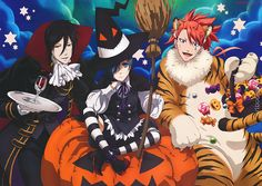 This Halloween-themed Black Butler: Book of Circus poster was one of eight new poster art works that came with the October 2014 issue of Animage Magazine. Animation director Mika Sawada (澤田美香) took the opportunity to make Joker extra fluffy and Ciel...