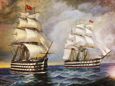 Mahmudiye and another ship of the line Mehmed The Conqueror, Turkish Soldiers, Ship Of The Line, Naval History, Wooden Ship, Ottoman Empire, Model Ships, North Africa, Ottomans
