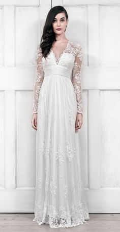 BHLDN White/Ivory Lace and Silk Lia Long Sleeve Gown - Catherine Deane Vintage Wedding Dress Size 8 (M) off retail Bhldn Wedding Dress, Wedding Gowns With Sleeves, Wedding Dresses Photos, Long Sleeve Wedding, Used Wedding Dresses, Wedding Dress Sizes, Bridal Gowns, Long Sleeve Gown, Vera Wang