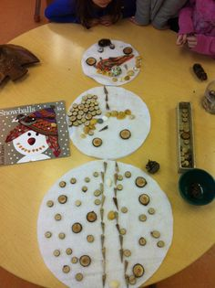 Loose parts to create snowmen