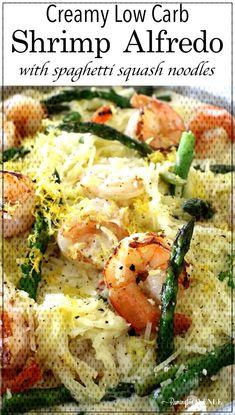 #atkinsinfluencer #asparagus #spaghetti #noodles #alfredo #comfort #partner #creamy #shrimp #squash #reci... How To Cook Squash, Squash Noodles, Spaghetti Noodles, Atkins, Asparagus, Shrimp, Low Carb, Meat, Chicken
