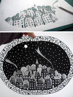 Hand-Cut Paper Art from Single Sheet of Paper