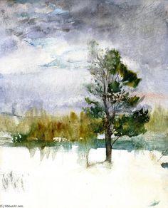 Evening Sky hiver, aquarelle de John La Farge (1835-1910, United States)