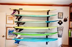Surfboard storage for inside