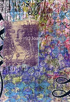 Joanna Grant Work in progress - Gelli plate print that has been enhanced with digital flourishes and mounted on reclaimed masonite, stamped images and stacked journaling. Now, where to go next with this piece?? -- Joanna Grant