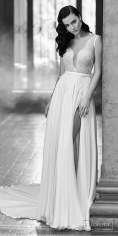 maison signore 2017 bridal sleeveless deep plunging v neck heavily embellished bodice sexy romantic soft a  line wedding dress open scoop back chapel train (elida) mv -- Maison Signore Exquisite Made in Italy Wedding Dresses