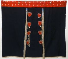 Medicine blanket, Crow. ДА. Date: 1875. Dimensions: L: 49.375 in, width: 56.5 in. Blue wool with red wool band along top with white seed bead tassles, red wool bear paws, two rows down center with four paws in each outlined with white beads. Two long buckskin fringe tassles with blue glass beads. Several medicine pouches attached. *Supposedly a Crow Tobacco Society blanket * Buffalo Bill Center of the West.