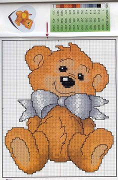 CHARMS Bear w/blue bow FREE color coded chart