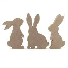 Set of 3 Rabbit / Bunny Shapes - Makers Shed - Custom MDF Craft Shapes and Supplies rabbit silhouette Hoppy Easter, Easter Bunny, Easter Crafts, Crafts For Kids, Rabbit Silhouette, Bunny Templates, Wooden Rabbit, Diy Ostern, Wood Crafts