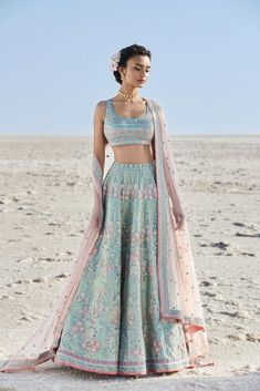 15 Anita Dongre Lehenga Designs With Prices - SetMyWed Blue Lehenga, Indian Lehenga, Indian Gowns, Indian Attire, Indian Bridal Outfits, Indian Designer Outfits, Bridal Dresses, Indian Wedding Clothes, Indian Wedding Fashion