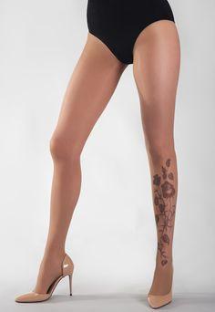 Black Roses Flower Tattoo Sheer Tights
