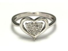 Sterling silver pavé diamond heart ring - On sale now for only $74.00
