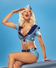 Christina Aguilera - We have the perfect shoes for this outfit! http://thevioletvixen.com/frontpage/5-blue-white-siren-heels/