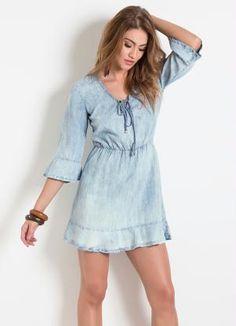 Vestido (Jeans) Colcci com Babados