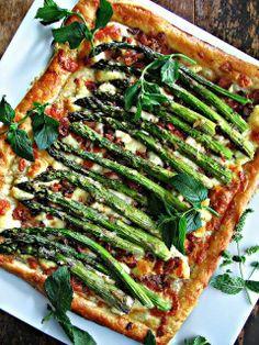 Roasted Asparagus, Bacon Cheese Tart