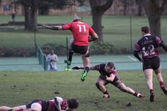 Skipton 1xv player Josh Smith jumps over a tackle against Burley 1xv, with the Skipton's winning 19-8.