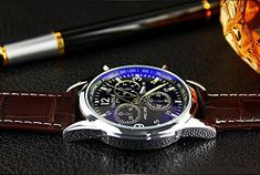 Luxury Fashion Business Faux Leather Mens Blue Ray Glass Quartz Analog Multifunctional Casual Watches Gift ODGear Clearance ** Want additional info? Click on the image. (This is an affiliate link) Best Watches For Men, Luxury Watches For Men, Patek Philippe, Retro Men, Fashion Watches, Men's Watches, Men Fashion, Luxury Fashion, Male Watches