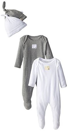 Burt's Bees Baby Boy Organic 2 Footed Coveralls and 2 Knot Caps, Heather Grey, 6 Months Burt's Bees Baby on Amazon.com #AmazonPrime