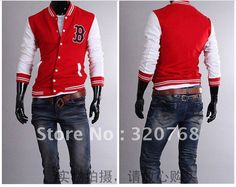 "2012 Free Shipping Men's ""B"" Baseball Hoody Sport Jacket Uniform Sweatshirt jumper COAT Blazer 4 SIZE M L XL XXL Navy Red Black $22.00"