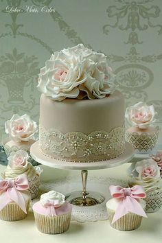 Vintage lace and roses cake and matching cupcakes - Leslea Matsis