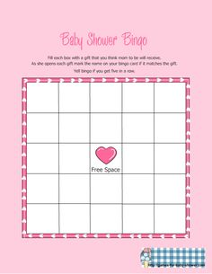 baby shower bingo printable blank | free printable baby shower gift bingo game in pink color