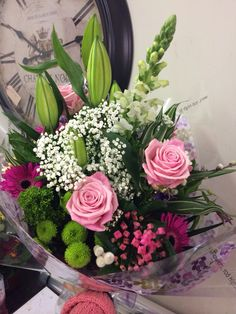 Gift bouquet of heaven #rose cerise #Bouvardia #gypsophilia #anttirhinum and oriental #lily  #pennyjohnsonflowers