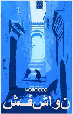 Morocco Black Cat Vintage Travel Art Silk Cloth Poster Home Wall Decor Retro Poster, Vintage Travel Posters, Vintage Postcards, Travel Illustration, Illustration Artists, Canvas Art, Canvas Prints, Art Prints, Blue Canvas