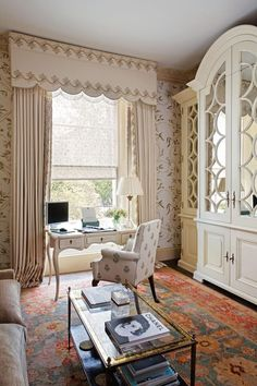 Elegant and cozy personal den and office by Alidad in London. That custom, breakfront, mirrored built-in with circular fretwork is so darn lovely.