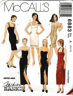 Basic Sewing McCall's Sewing Pattern 6883 Misses Sizes Basic Evening Dress Length Options - Evening Dress Patterns, Vintage Dress Patterns, Clothing Patterns, Evening Dresses, Fashion Sewing, Retro Fashion, Vintage Fashion, Fashion Fashion, Couture