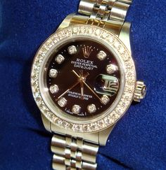 Ladies Rolex Date-Just Black Diamond Dial, After Market Diamond Bezel sold for 2975.00 USD at http://www.darcysfinejewelers.com/collections/estate-jewelry/products/rolex-dale-just-diamond-bezel-ladies-watch