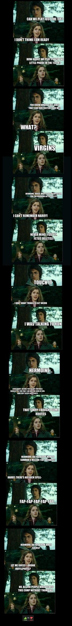 Harry Potter scenes captioned to death is funny as hell,,, with Hermione and Ron,,,