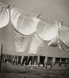"Herbert List, Laundry in the Wind, 1934.  ""Air is the very substance of our freedom, the substance of superhuman joy.... aerial joy is freedom.""  ― Gaston Bachelard"