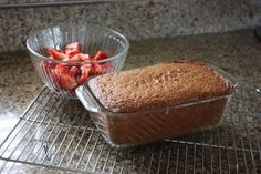5 T, plus 1 tsp butter 1 pint strawberries, mashed or blended 1 cups flour 1 tsp baking soda tsp baking powder tsp cinnamon Strawberry Bread, Bread Rolls, Baked Goods, Baking Soda, Blueberry, Cinnamon, Cherry, Food And Drink, Pudding