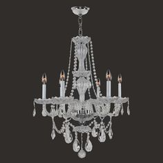 "View the Worldwide Lighting W83096C23-CL Provence 6 Light 1 Tier 23"" Chrome Chandelier with Clear Crystals at LightingDirect.com."